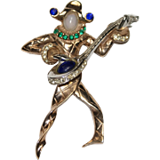 Urie Mandle Sterling Blue Cabochon Rhinestone Harlequin Minstrel Pin Brooch 1940's