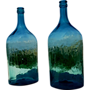 SOLD Set of two Italian glass carboys, big bottle, glass demijohns