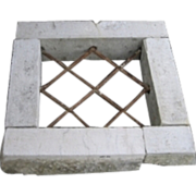 SALE Antique window stone frame with wrought iron grate