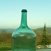 SOLD Antique Green blown glass carboy XIX century, antique demijohn