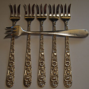 SALE PENDING Set of 6 S. Kirk & Son Repousse Pickle Forks (Cocktail or Seafood)