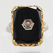 SOLD Two Tone Onyx and Diamond Filigree Ring