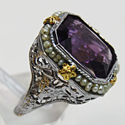SALE Amethyst and Seed Pearl Filigree Ring, circa 1925