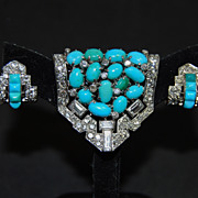 SOLD French Art Deco Clip and Earrings in Platinum w/ Diamonds and Turquoise