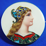 SALE 18k Art Nouveau Enameled  Limoge Pin