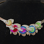 SALE PENDING Kabana Sterling Enamel Fish Necklace