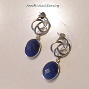 Faceted Natural Sapphire and Silvertone Rose Links Earrings