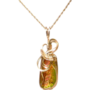 Wire Wrapped Dichroic Glass Pendant and 14k GF chain