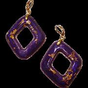 24k Gold Flakes in Rich Violet Diamond Shaped Hoop Earrings