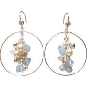 Swarovski Air Blue Opal Crystal Cluster and Sterling Silver Hoops Earrings