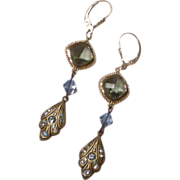Black and Blue - Swarovski Black Diamond Crystals and Aquamarine Crystal Bicone Long Dangle Ea