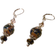 Blue and Tan Boro Glass and Crystal Earrings