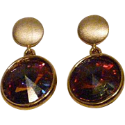 Rainbow/Multicolored Swarovski Crystal Vitrail in gold plated settings and Gold Vermeil Discs