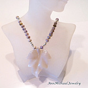 Carved White Agate Leaf and Sugilite Rondelle Necklace Set with Sterling Silver Accents