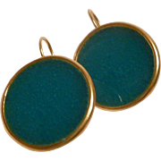 Dark Turquoise Resin Stud Earrings in 24k gold plated Bezels
