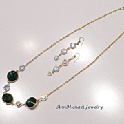 Emerald and Clear Vintage Crystal AB Necklace and Earring Set
