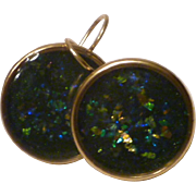 Rich Forest Green Shattered Opal Ice Resin Earrings 24k Antiqued Gold Plated Bezels