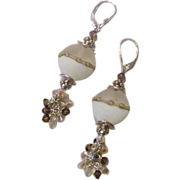 Ivory and Etched Glass Lampwork Bead and Crystal Earrings