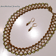 Beadwoven Two-tone Peridot and Copper with Swarovski Crystal Light Colorado Topaz AB accents N