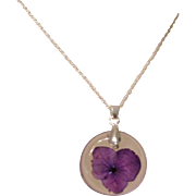 Real Flower Jewelry Purple Hydrangea Suspended in Resin on 0.925 Sterling Silver Rope Chain