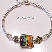 Rainbow Lampwork Bead and Swarovski Clear Crystal Bangle Bracelet