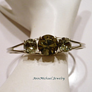 Swarovski Black Diamond Crystal Chaton Bangle Bracelet