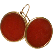 Rich Red Resin in 24kt antiqued gold plated bezel earrings