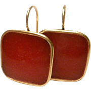 Rich Red in 24k gold plated bezel square resin earrings