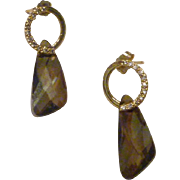 Swarovski Bronze Shade Crystal Wing Earrings with Gold Plated Rhinestone Accented Earring Find