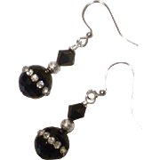 Swarovski Jet and Clear Crystal Black Agate Sterling Silver Earrings