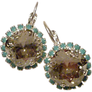 Swarovski Cushion Cut Silver Shade Crystal in Turquoise Crystal Bezel Earrings