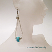 Blue Lampwork Beads and Silvertone Capture Teardrop Earrings