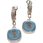 Swarovski Ultra Blue AB Crystals with Sterling Silver Cubic Zirconia (CZ) Embellished Fancy Le