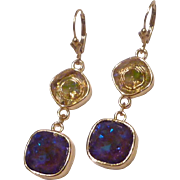 Swarovski Ultra Purple AB and Luminous Green Cushion Cut Gold Plated Bezeled Earrings