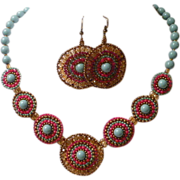 Handwoven Southwest Style Red and Turqoise Colored Faux Swarovski Crystal Pearls Necklace and