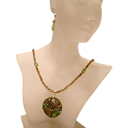 Tree of Life Pendant necklace and earring set with Swarovski Peridot Crystal Accents