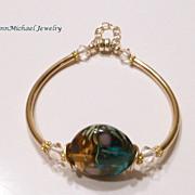 Teal Swirl Lampwork Bead and Goldtone (24k gold vermeil) Bangle Bracelet