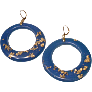 Ultra Marine Blue/Ocean Blue Resin Hoop Earrings with 24k Gold flakes from recycled gold jewel