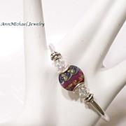 Very Berry Lampwork Bead Bangle Bracelet