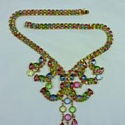 REDUCED Alice Caviness Waterfall  Rhinestone Bib Necklace