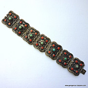 REDUCED Coral and Turquoise Chinese Bracelet