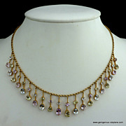 SOLD Victorian Suffragette 15K Fringe Necklace