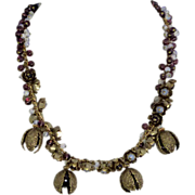 French Gilt Opal and Amethyst  Bead Necklace