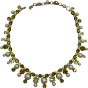 REDUCED Schreiner Faux Pearl and Rhinestone Necklace