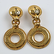 Jean Louis Scherrer Paris signed clip on Earrings Vintage goldtone dangling couture