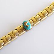Fab Vintage Egyptian Revival Chunky Goldtone Link Bracelet turquoise cabochon