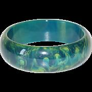 Bakelite Bracelet Bangle vintage rare blue moon marble color