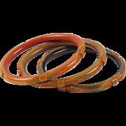 Bakelite Bracelet Bangle Spacer vintage deep carved washed color set 3 pc