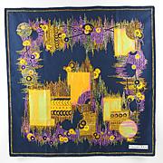 Christian Dior 100% pure Silk Twill Scarf vintage 70's colorful geometric print