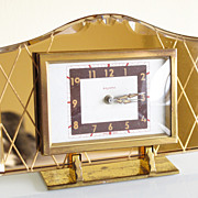 SOLD Stunning Vintage French Art Deco Peach Mirror Bayard Alarm Clock great condition - Red Ta